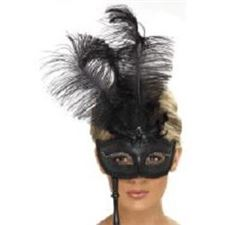 baroque-eyemask/-black-w/black-feather