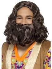 hippie/jesus-wig--beard-set-brown