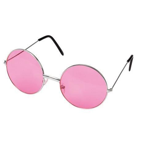 Store runde hippie briller, rosa Rubens